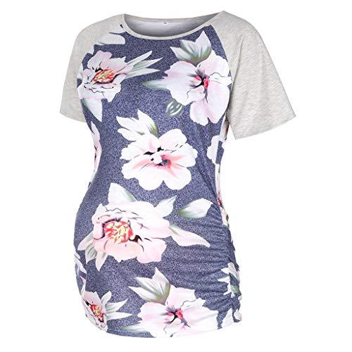 PANGCONK Blusa de maternidad para mujer, verano, manga corta, embarazo, estilo casual, a rayas, floral, talla grande gris M