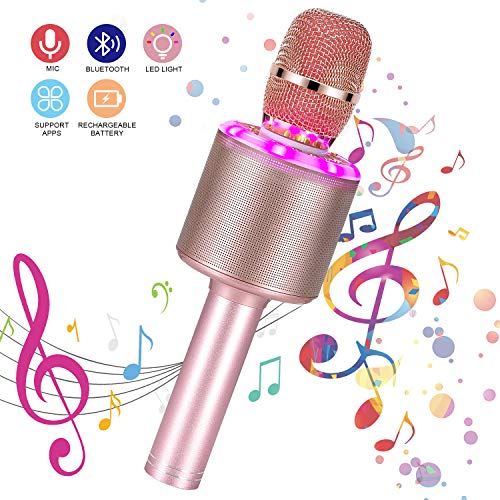 Bearbro Wireless Karaoke Microphone,4 in1 Hand held Portable Speaker Karaoke Machine with Dancing LED Lights, Home KTV Player Compatible with Android & iPhone Devices for Singing/Recording (Rose gold)