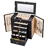 Uptizer Jewelry Box,Functional Faux Leather Jewelry Organizer Display Storage Case,Gift for Girls or Women (Black)