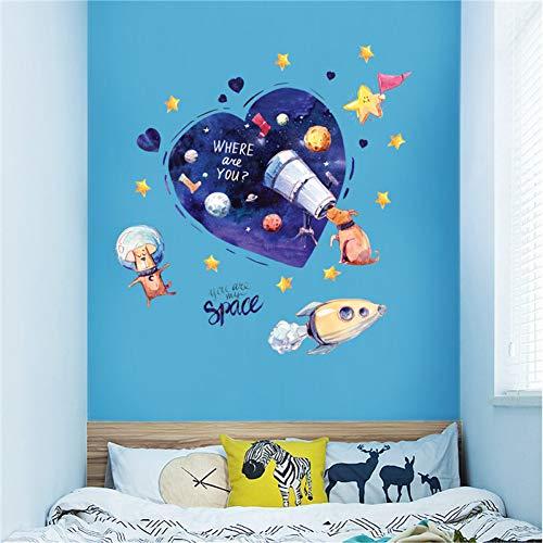 LBBWF Etiqueta Pared Perro de Dibujos Animados Space Dream Etiqueta de la Pared Cachorro Telescopio Space Planet Rocket Habitación de los niños Decoración del Dormitorio del bebé Pegatinas extraíbles
