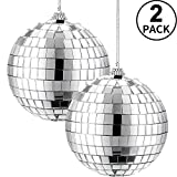 2 Pieces Mirror Disco Ball, 70's Disco Party Decoration, Hanging Ball for Party...