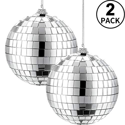 2 Pieces Mirror Disco Ball, 70's Disco Party Decoration, Hanging Ball for Party or DJ Light Effect, Home Decorations, Stage Props, Game Accessories (Silver, 4 Inch)