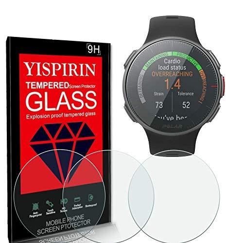 YISPIRIN [4 unidades] Protector de pantalla de cristal templado para Polar Vantage V2 con dureza 9H, antiarañazos, sin burbujas, transparente, protector de pantalla HD para Polar Vantage V2