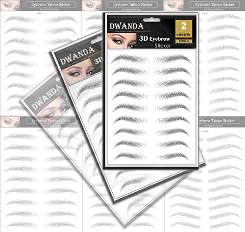 2 Sheets Premium Dwanda 3D Realistic Long Lasting Eyebrow Transfers, Realistic Looking Natural Eyebrows, Waterproof Eyebrow Tattoo stickers for Woman Makeup, Black, 18-Pairs of Brows
