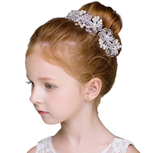 DreamYo Headdress Flowers Crystal Pearls Rhinestones Beading Beautiful Girls Hair Accessories Princess Hair Jewelry Ceremony performce Prom Party Wedding 9 Styles (CZ), Small
