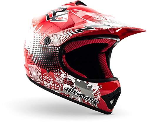 ARMOR Helmets AKC-49 Casco Moto-Cross, DOT certificado, Bolsa de transporte, M (55-56cm), Rojo
