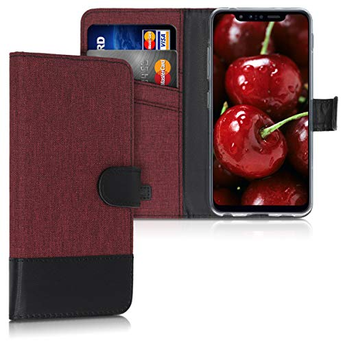 kwmobile Hülle kompatibel mit LG G8s ThinQ - Kunstleder Wallet Hülle mit Kartenfächern Stand in Dunkelrot Schwarz