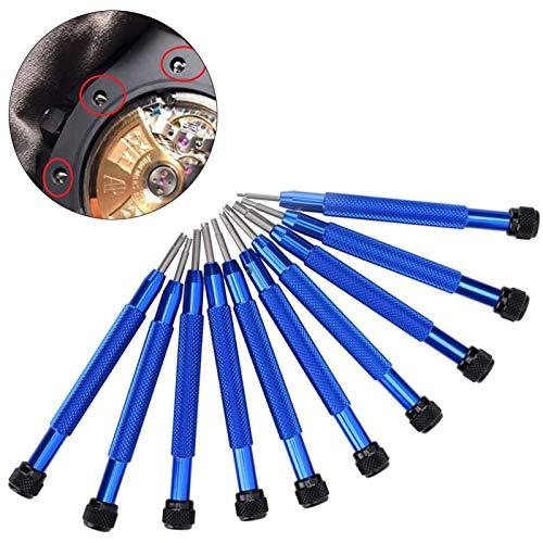 Destornillador de reloj de extracción de tornillos de reloj de acero de aleación de 10 piezas, para relojeros y trabajadores de reparación de relojes