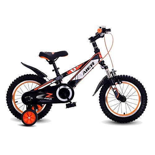 """FUFU Kids Bicycle With Pedals For Boys And Girls, Removable Training Wheels, Brakes,14"""" Inch Wheels, Orange"""