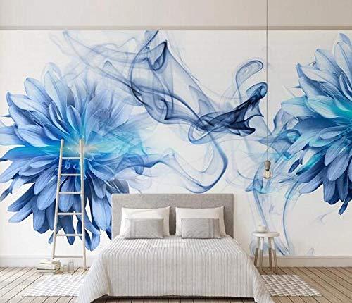 Blauw fotobehang voor de decoratie van de slaapkamer in de woonkamer van de bibliotheek van het kantoor van de poster van de rookbloem 150cmx105cm