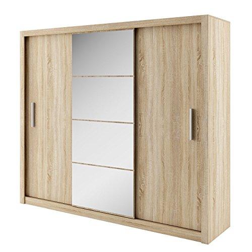 Kleiderschrank Idea, Modernes Schwebetürenschrank mit Spiegel, Schiebetür, 250 x 215 x 60 cm, Elegantes Schlafzimmerschrank, Schlafzimmer (250 cm, Sonoma Eiche)