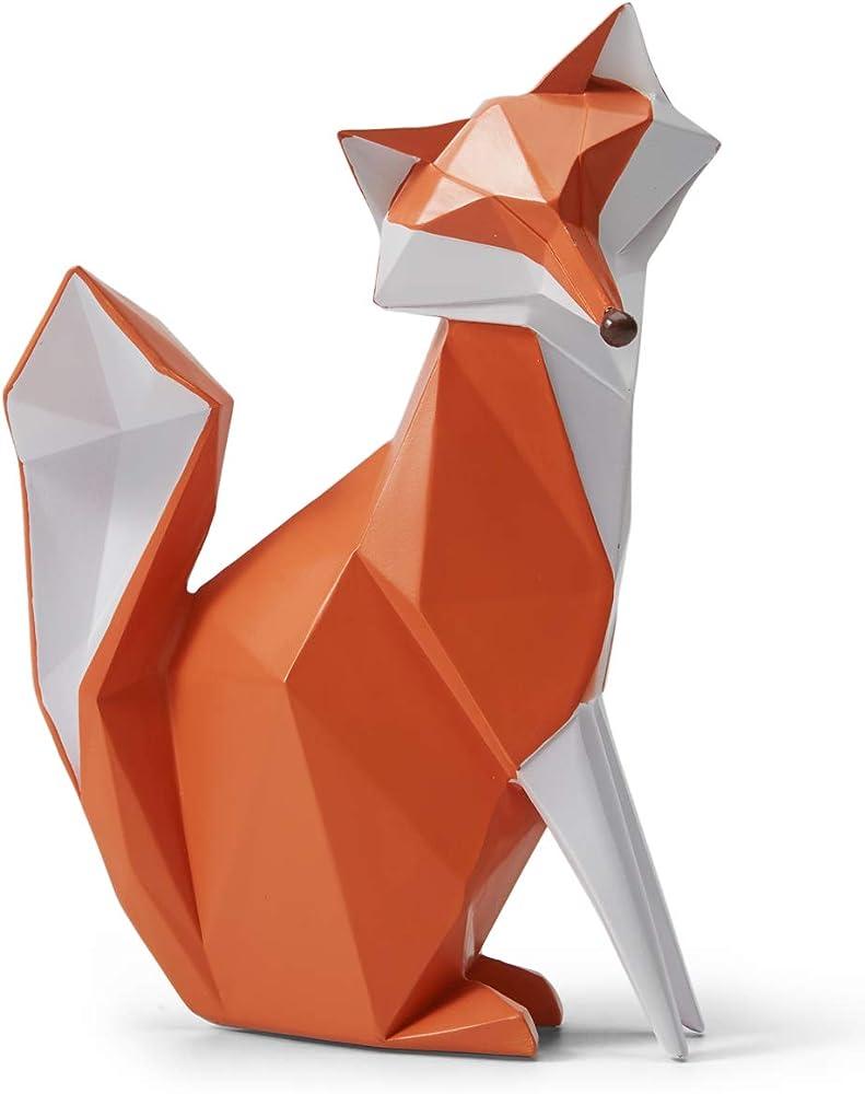 Amoy-art, statuetta a forma di volpe, in resina, 20 cm HB080211