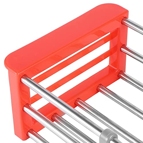 Estante de vajilla expandible Estante de acero inoxidable para cocina Estante ideal para platos (rojo)