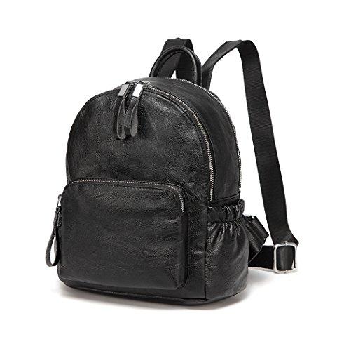 VASCHY Mini Rucksack Damen, Pu Leder Klein Rucksack Mädchen Mode Schultasche Elegant Casual Daypack for Reise Einkaufen Student Teenager Schwarz