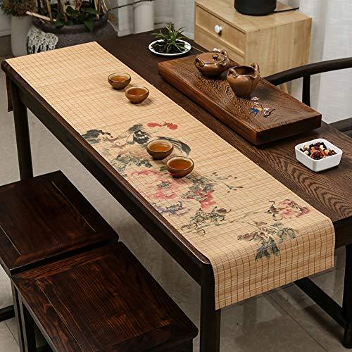 Tischläufer Chinesische Klassische Rolle Tabelle Flagge für Porch Konferenztisch, Bambus Tischset Tischläufer Vorhang Anti-Rutsch 33x180cm (Color :...