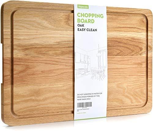 Tabla de cortar de madera de roble Premium. Tabla de corte extra grande 45 cm x 30 cm x 2 cm. Mejor para carnes, verduras y quesos. Grado profesional de resistencia y durabilidad. Ranura de goteo