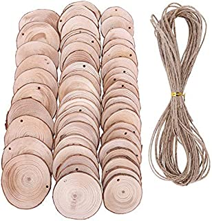 50 Pieces Wood Slices with Holes Natural Unfinished Predrilled DIY Round Log Discs Craft Ornaments Tree Bark Wooden Circles with 33 Feet Jute Twine - Ranging from1.5 inch to 2.75 inch