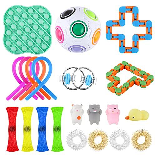 Xpassion Fidget Toy Packs Kit De Juguetes Sensoriales Juguete Antiestres Fidget Sensory Toys para Autismo Necesidades Especiales para Aliviar El Estrés Paquete DE 21 EN Color Aleatorio