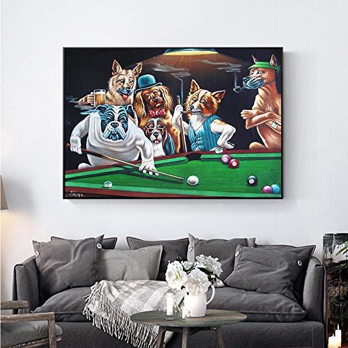 Der Hund spielt Billard Leinwand Malt Kunstplakate und druckt Moderne Kunst Wohnzimmer Schlafzimmer Dekoration Wandbild