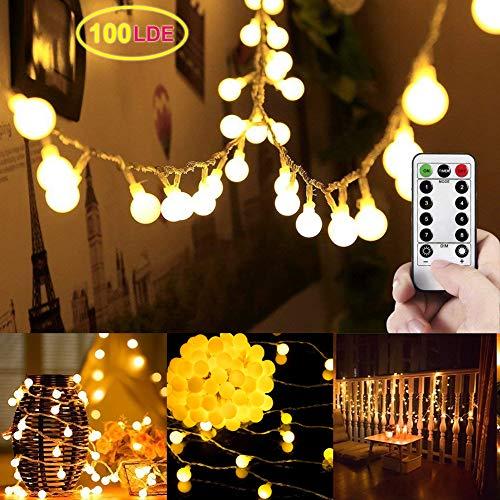 Catena di luci a LED, LED Globe catena, luminosa LED Luce Globe catena, interno/esterno illuminazione con funzione Memory telecomando LED catena luminosa (8 modalità, intensità variabile)