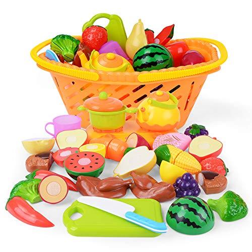 Nextx为孩子们玩食物厨房,假装玩厨房食品套装,切割水果和蔬菜与储存篮假装玩具,儿童厨房的教育玩具圣诞快乐礼物