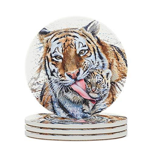 Fineiwillgo Posavasos de cerámica Tiger Mom Son Daught, antideslizantes, redondos, de cerámica, con dorso de corcho, perfecto para bar, cristal, oficina, diámetro de 9,8 cm, color blanco, 4 unidades