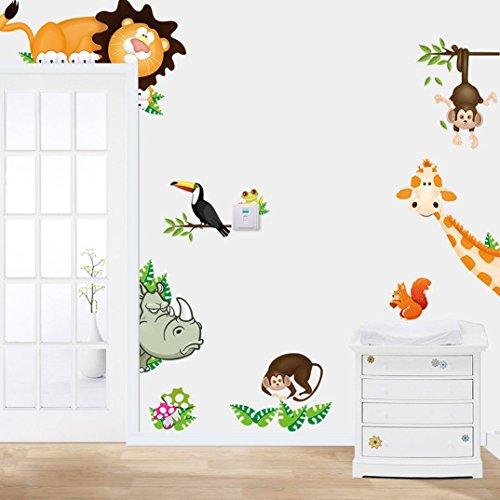 Binmer (TM) Hot animaux de la jungle pour enfant bébé Chambre d'enfant Mur Autocollant Home Decor mural autocollant