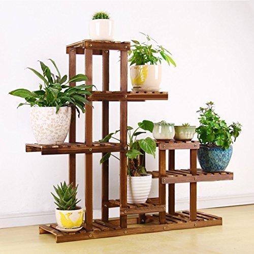 TtYj-Soporte de flores multifuncional de madera, estante de madera maciza, estante de varios pisos para flores, marco en maceta, estante para plantas (color: marrón)