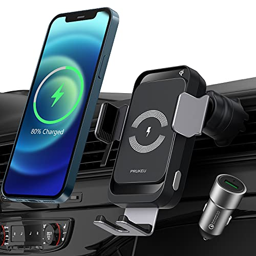 PRUKEU Wireless Charger Auto Automatisch Induktion kabellose Ladegerät Autohalterung Qi Fast 15W/10W/7.5W for iPhone 12/11/X, Galaxy S21/S20/S10/S9, Note 20/10 USW