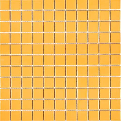 Mosaik Fliese Keramik gelb glänzend für WAND BAD WC DUSCHE KÜCHE FLIESENSPIEGEL THEKENVERKLEIDUNG BADEWANNENVERKLEIDUNG Mosaikmatte Mosaikplatte 1 Matte