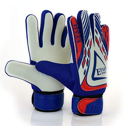 EFAH Gants de gardien de but de football pour garçons, enfants, adultes, gants de protection super adhérents (bleu/blanc, taille 4, convient pour les enfants de 6 à 9 ans)