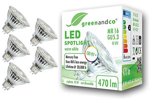 5x Spot a LED greenandco IRC 97+ 2700K 36° GU5.3 MR16 6W (equivalente spot alogeni 45W) 470lm (bianco caldo) SMD LED 12V AC/DC vetro, non dimmerabile