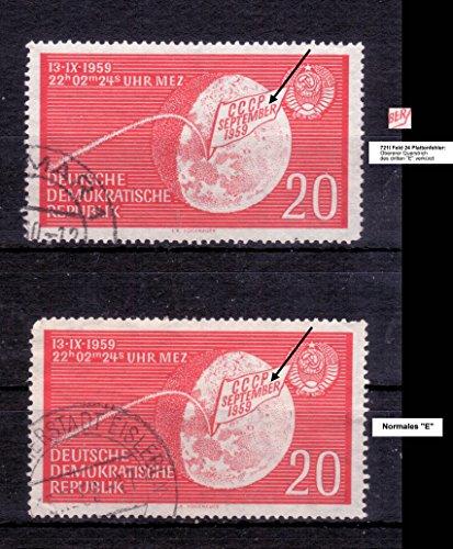 Briefmarken DDR 1959, Plattenfehler Mi.Nr. 721I Feld 24, Oberer Querstrich des dritten E verkürzt - Katalog-Wert 100 EUR, Gestempelt (465)