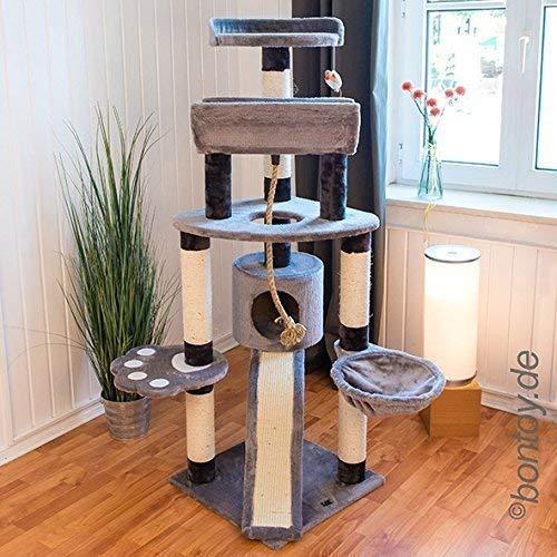 Bontoy Kratzbaum Lou Grau I 145 cm I mit großer Liegewanne I viel Platz zum Toben und Schlafen I Stabiler Katzenkratzbaum für jedes Abenteuer