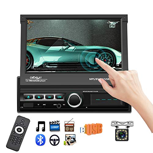 Podofo Single Din Car Stereo Indash 7' Motorized & Retractable HD Touch Screen Bluetooth Car Radio MP5 Player Support FM/AUX-in/USB/SD/Mirror Link + Wireless Remote + Backup Camera