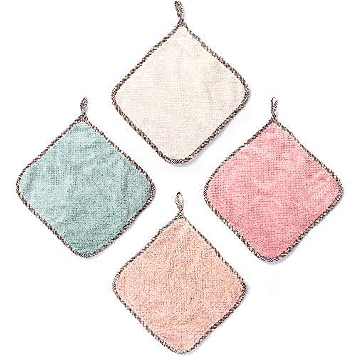 Ruiao 4 paños absorbentes para el hogar, trapos de cocina multifuncional, de doble cara, gruesos y suaves con cordón, paños de cocina antiadherentes