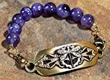 Elaine Coyne Satin Antiqued Neo-Victorian Dragonfly Rockband Wearable Art Bracelet - Dogtooth Amethyst