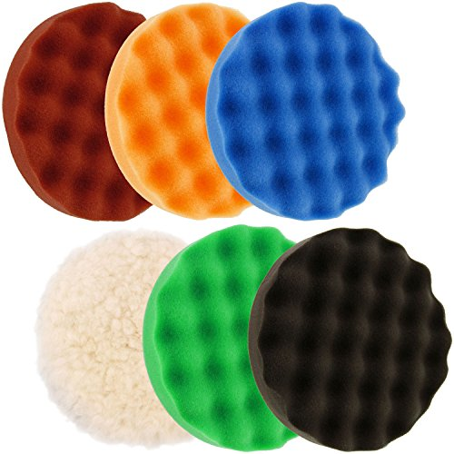 "TCP Global 6.7"" 6-Pad Waffle Foam & Wool Polishing Grip Pad Set"