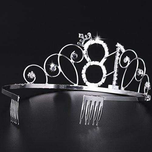Frcolor Alles Gute zum Geburtstag 18. Silber Kristall Tiara Krone - 4