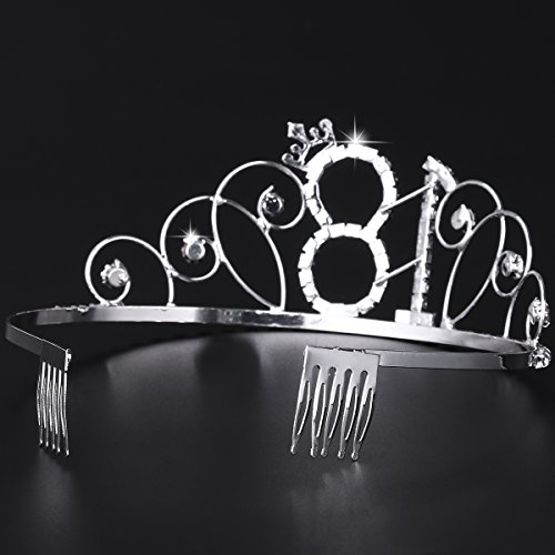 Frcolor Alles Gute zum Geburtstag 18. Silber Kristall Tiara Krone - 8