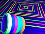 GreyParrot Tape UV Tape Blacklight Reactive, (6 Pack), (6 Colors), 33ft Per Roll, Fluorescent Cloth Tape, Glow in The Dark Tape Under UV Black Light