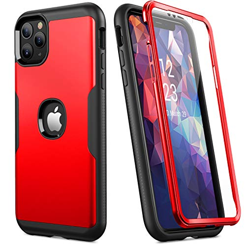 YOUMAKER Compatible with iPhone 11 Pro Max Case 6.5 Inch, Tempered Glass Designed Built-in Screen Protector Shockproof Cases- Red