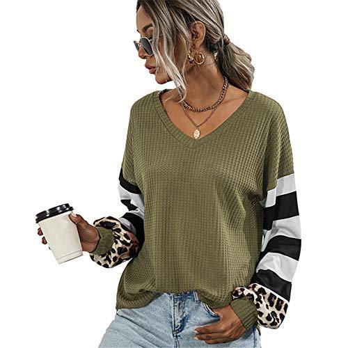XLKJ V-Neck Sweatshirt Women Striped Leopard Stitching Hoodies Autumn Long-Sleeve Top Female Loose Sweatshirts Casual Hoodie Green