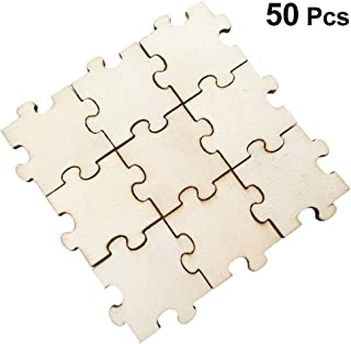 Amosfun 50Pcs Blank Puzzle Unfinished Wood Cutout Wedding Guest Book Puzzle Wood Craft Pieces for Art Crafts Supplies