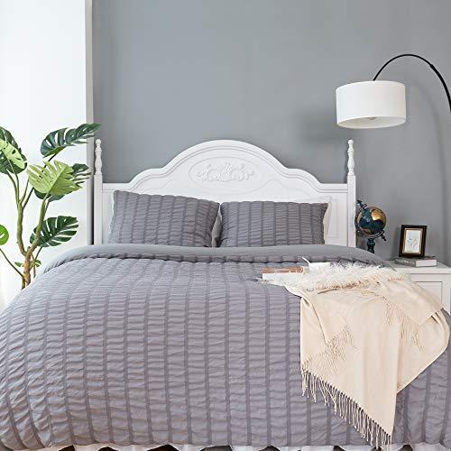 CHOSHOME Duvet Cover Twin Comforter Grey Bedding Set Farmhouse Seersucker Light Weight Sheets Pillow Corner Ties 3 Pcs