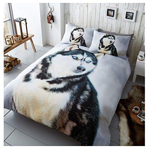 Gaveno Cavailia 3D Wildlife Husky Bettwäsche-Set mit Bettbezug und Kissenbezug, Polyester-, Multi, Single