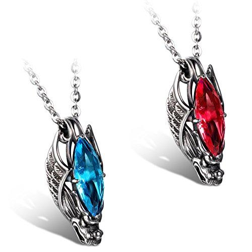 JewelryWe Schmuck 2 Edelstahl Ketten, Gotik Herrschsüchtigem Drachen Kopf Anhänger mit Rot/Blau Glas, Halsketten Partnerketten für Damen und Herren