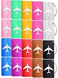 20 Pieces Metal Luggage Tags Aluminum Suitcase Labels Travel Bag Tags with Name ID Cards Colorful Baggage Tags Card Holders with Stainless Steel Loops