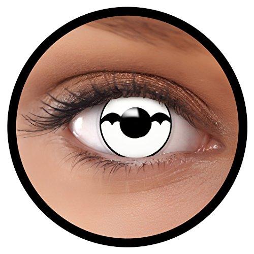 Farbige Kontaktlinsen weiß Bat + Behälter, weich, ohne Stärke in als 2er Pack (1 Paar)- angenehm zu tragen und perfekt für Halloween, Karneval, Fasching oder Fastnacht Kostüm
