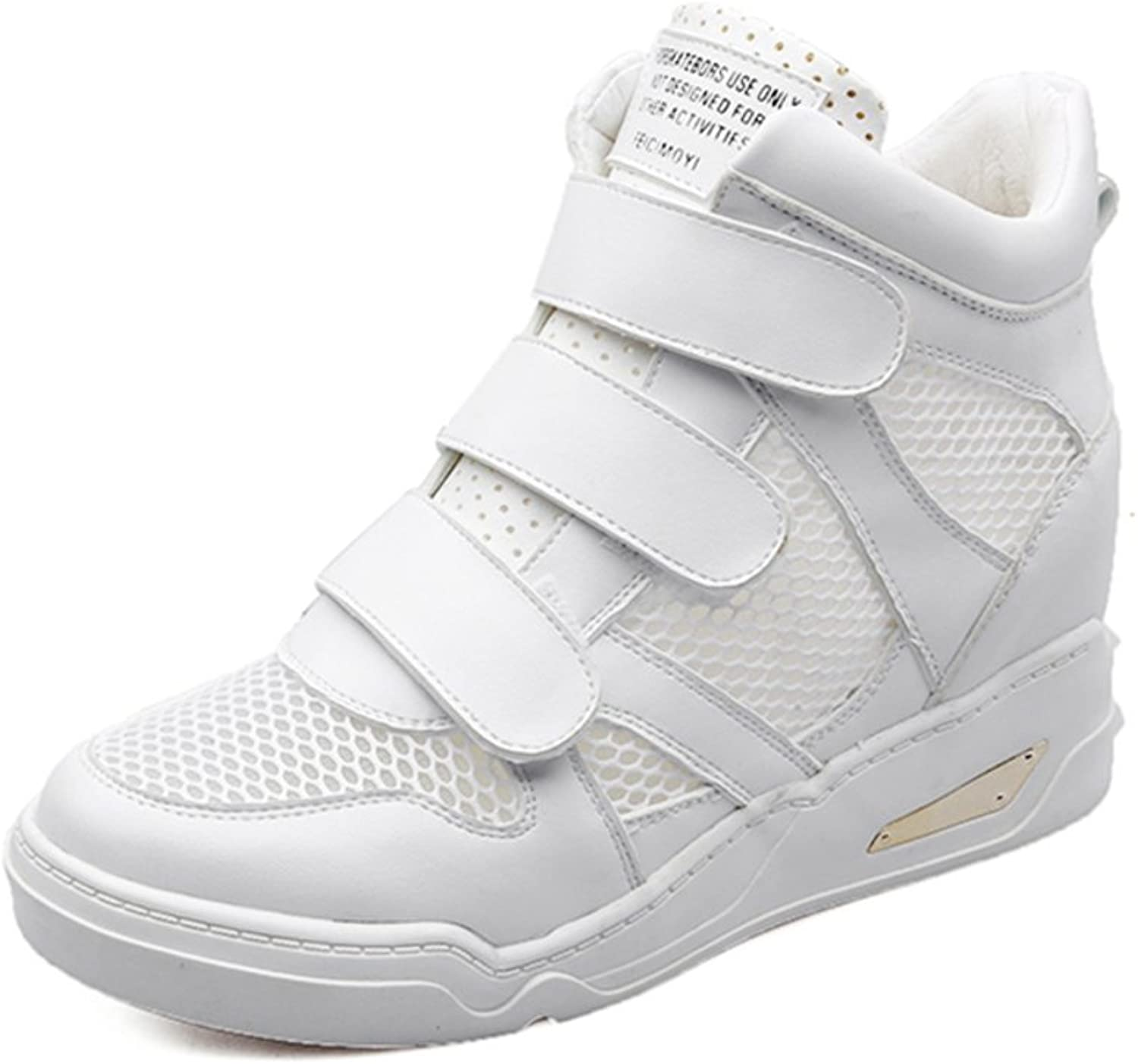 Leather high-top sneakers shoes breathable mesh panel Inside Velcro sneakers increased